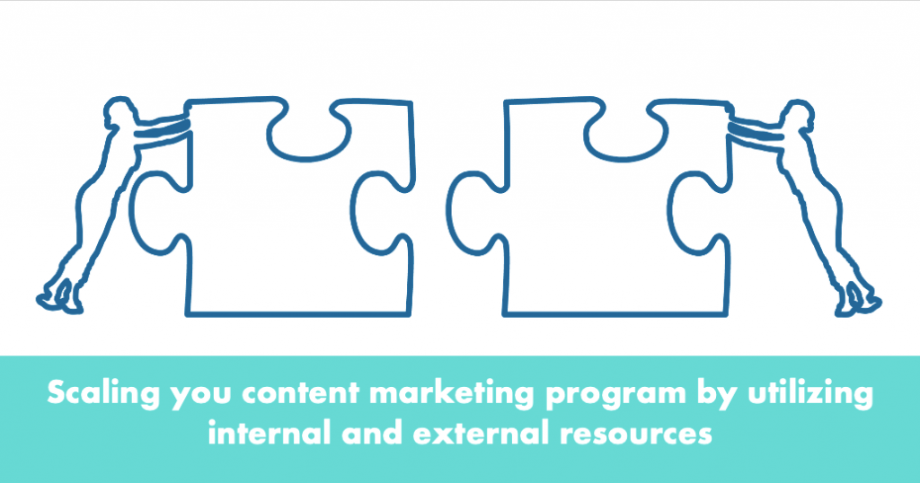 By utilizing internal and external resources you'll scale up your content marketing program
